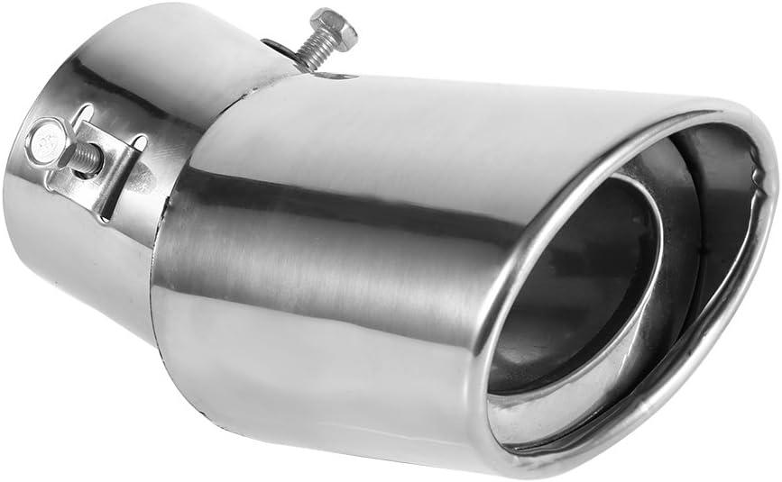 Qiilu Universal Garganta de la cola,Tubo de escape de la cola del silenciador del extractor del escape del acero inoxidable del cromo redondo trasero