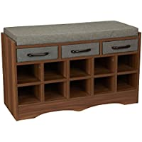 Household Essentials Entryway Shoe Storage Bench with Cushion and Drawers, Brown