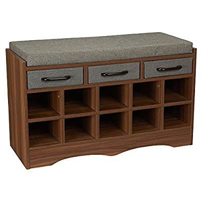 Household Essentials Entryway Shoe Storage Bench with Cushion and Drawers, Brown - Intelligently designed ottoman organization bench with 10 cubbies for shoe storage 3 small fabric drawers, with coordinating accent handles, for additional out-of-sight storage Bench base provides superior stability compared to bench legs or feet - entryway-furniture-decor, entryway-laundry-room, benches - 51lbtWNW28L. SS400  -