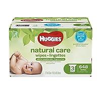 Toallitas para bebés Huggies Natural Care, sensibles, sin perfume, 3 paquetes de recarga, 648 conteos en total