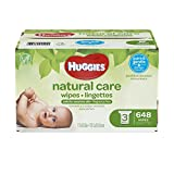 Huggies Natural Care Unscented Baby Wipes, Sensitive, Hypoallergenic, Water-Based, 3 Refill Packs,...