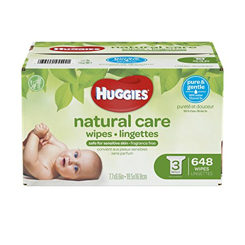 Baby Wet Wipe Case - HUGGIES Natural Care Unscented Baby Wipes, Sensitive, 3 Refill Packs, 648 Count Total