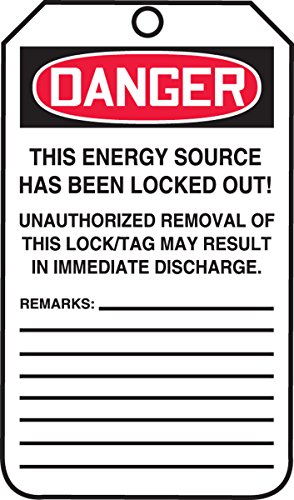 Accuform MLT402CTP PF-Cardstock Lockout Tag, Legend''DANGER DO NOT OPERATE ELECTRICIANS AT WORK'', 5.75'' Length x 3.25'' Width x 0.010'' Thickness, Red/Black on White (Pack of 25) by Accuform Signs (Image #1)