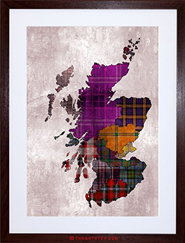 PAINTING MAP OUTLINE SCOTLAND TARTAN INSET REGIONS FRAMED PRINT - Inset Maps
