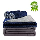 Secura Everyday Luxury Premium Adult Weighted Blanket & Removable Green Minky Cover & 2 Pillowcases (20 lbs 60 x 80 Queen Size, 100% Cotton Material with Glass Beads)