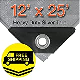 12' x 25' Heavy Duty Silver/Black Waterproof UV Blocking 10 Mil Poly Tarp