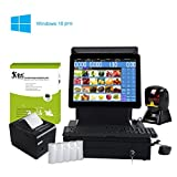 all cash register - ZHONGJI All In One POS Point Of Sale System, Cash Register Set - Includes AP-B6000D Touch Screen PC, Windows10 Pro, POS Software, Handfree Barcode Scanner Thermal Receipt Printer, Cash Drawer(SET03)