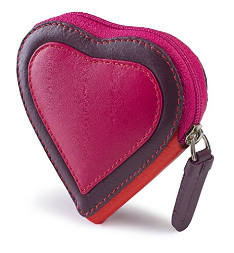 Visconti Capri RB59 Multi Colored Heart Shaped Ladies/ Girls Leather Coin Purse Key Wallet With Key Chain (Plum)