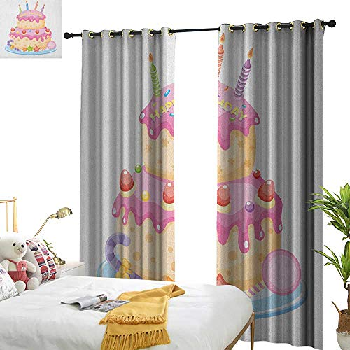 Littletonhome Simple Curtain Kids Birthday Pastel Colored Birthday Party Cake with Candles and Candies Celebration Image Darkening and Thermal Insulating W120 x L96 Pale Pink -