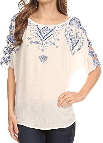 Sakkas TA14568 - Enya Batik Wide Scoop Neck Blouse Shirt Top Open Sleeves - White - 3X (Sakkas 3x)