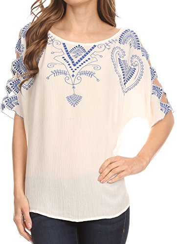 Sakkas TA14568 - Enya Batik Wide Scoop Neck Blouse Shirt Top Open Sleeves - White - 3X