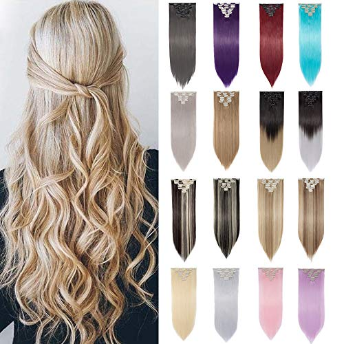 2018 FASHION 23-26 Inch 8Pcs 18Clips Full Head Clip in Hair Extensions Long Straight Synthetic Hair Extensions Hairpieces for Women 2-5 Days Delivery (Natural Black) ()