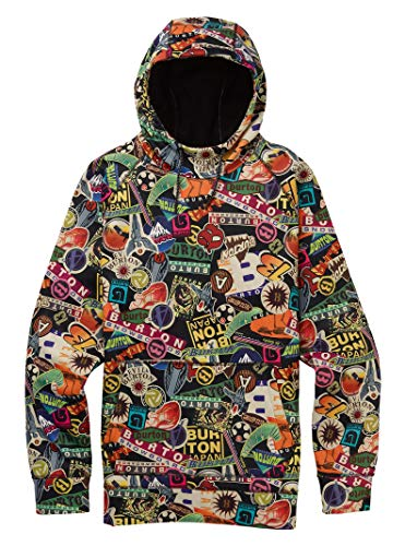 Burton Men's Crown Bonded Pullover Hoodie, Stickers, Small