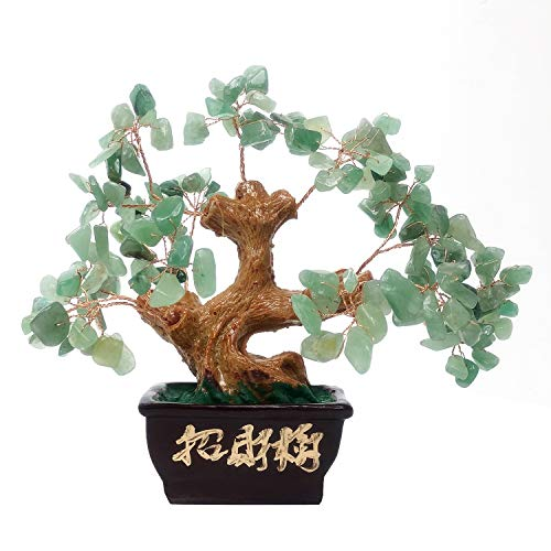 hui Aventurine Quartz Gemstone FengShui Money Tree Natural Green Crystal Office Room Good Luck Fortune Decoration ()