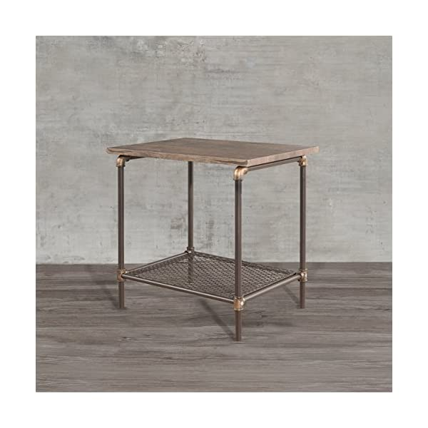 Starsong Retro Antique Industrial Vintage Style End Night Coffee Table/Tool Stand with Storage Shelf 4