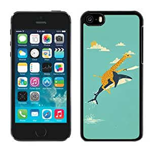 New Fashion Custom Designed Skin Case For iPhone 5c Phone Case With Funny Giraffe and Shark Illustration Phone Case Cover