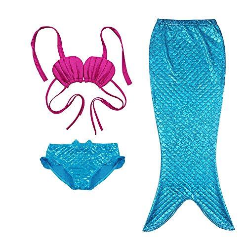 TFJH E 3PCS Kids Girls Fancy Princess Swimmable Fish Tail Set 9-10Years HotPink Blue]()