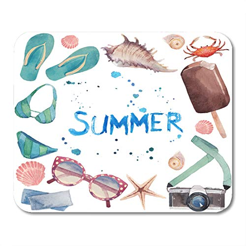 Nakamela Mouse Pads Watercolor Summer Vacation Round with Tourism Objects Sunglasses Camera Sea Shells Flip Flop Shoes Mouse mats 9.5