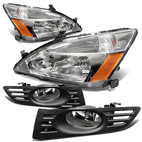 Honda Accord 2DR Headlight (Chrome)+Bumper Fog Light (Clear Lens) - 7th Generation UC1 CM7 CM8
