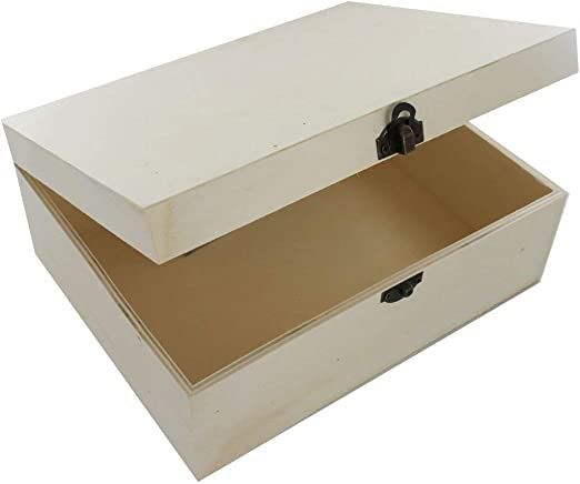 Caja grande de madera para manualidades: Amazon.es: Hogar
