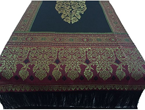 SiamSiri :Classic Thai Silk Two Sides Table Runner Bed Runner with couple Elephants design