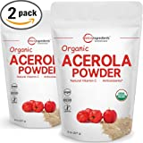 Pure USDA Organic Acerola Cherries Extract, Organic Natural Vitamin C Powder – 8 Ounce Pack (Pack of 2). Powerful Immune System and Energy Booster, Non-Irradiated, Non-GMO and Vegan Friendly.