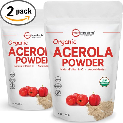 Acerola Vitamin C - Pure USDA Organic Acerola Cherries Extract, Organic Natural Vitamin C Powder - 8 Ounce Pack (Pack of 2). Powerful Immune System and Energy Booster, Non-Irradiated, Non-GMO and Vegan Friendly.