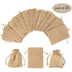 Yuxier 25pcs Burlap Bags with Drawstring Gift Bags for Wedding Party ,Arts & Crafts Projects, Presents, Snacks & Jewelry,Christmas(5.3*3.7inch) Pack of 25 (Flaxen)