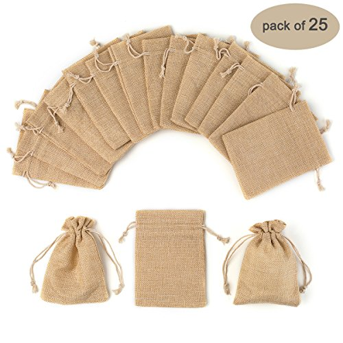 Yuxier 25pcs Burlap Bags with Drawstring Gift Bags for Wedding Party ,Arts & Crafts Projects, Presents, Snacks & Jewelry,Christmas(5.3*3.7inch) Pack of 25 (Flaxen) (Burlap String)