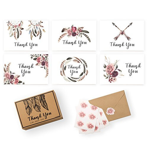- Set of 36 Cards, Flower Stickers + Kraft Paper Envelopes | 6 Designs w/ Blank Inside - 4 x 6 Inches - Box Included | Wedding, Business, + Baby Shower (Pink Flower Note Card)