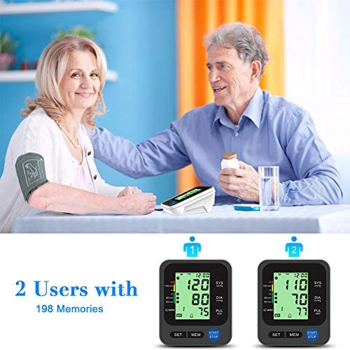"""Blood Pressure Monitor for Home Use with Large 3.5"""" LCD Display, Wowgo Digital Upper Arm Automatic Measure Blood Pressure and Heart Rate Pulse with Wide-Range Cuff,Three-Color Backlight Display 51lbvuq0o5L"""