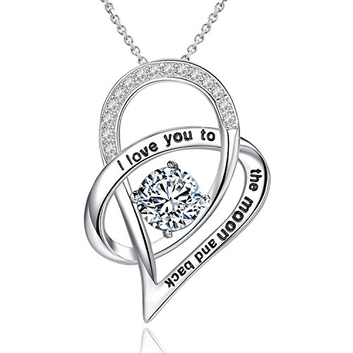 YOUFENG Mom Necklace Gift for Mother Love Heart Crystal Birthstone Necklaces Mothers Day Jewelry Platinum Plated (Heart Silver Necklace)