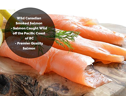 Wild Caught Smoked Sockeye Salmon Lox Cold Smoked Nova Pacific Canadian Fish Sliced (1/2 Lbs (1 x 1/2 Lbs)) (Cream Salmon Cheese Smoked)