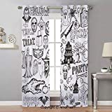 AmorFash Vintage Halloween Printed Semi Sheer Curtains Grommet Curtains for Girls Room,Chiffon Curtain,42x96 Inch Hand Drawn Halloween Doodle Trick or Treat Knife Party Severed Hand Decorative