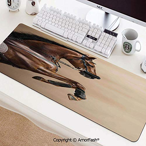 "Printed Base Mouse pad for Laptop,Computer & PC,Non-Slip Rubber,35.5""x11.8"",Horses,Chestnut Color Horse Jumping in Hackamore Life Force Power Honor Love Sign Print,Brown Cream"