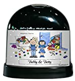 Personalized Friendly Folks Cartoon Caricature Snow Globe Gift: Twin Brother & Sister Great for room décor