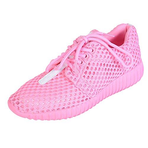 Sfit Damen Laufschuhe Atmungsaktiv Mesh Leichte Sneaker mit Schnüren Fitness Freizeitschuhe Turnschuhe Running Shoes Rosa
