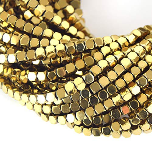 4mm Faceted Metallic Gold Hematite Cube Shaped Beads - Natural Semi-Precious Gemstone