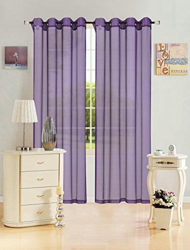 Kashi Home Leah Collection Window Sheer / Curtain / Panel 55″x 84″ Lightweight Solid Sheer Design in Purple – Single Panel, Grommet Top Hanging Panel