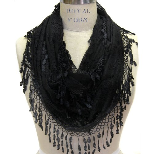 Scarfand's Delicate Lace Infinity Scarf with Teardrop Fringes