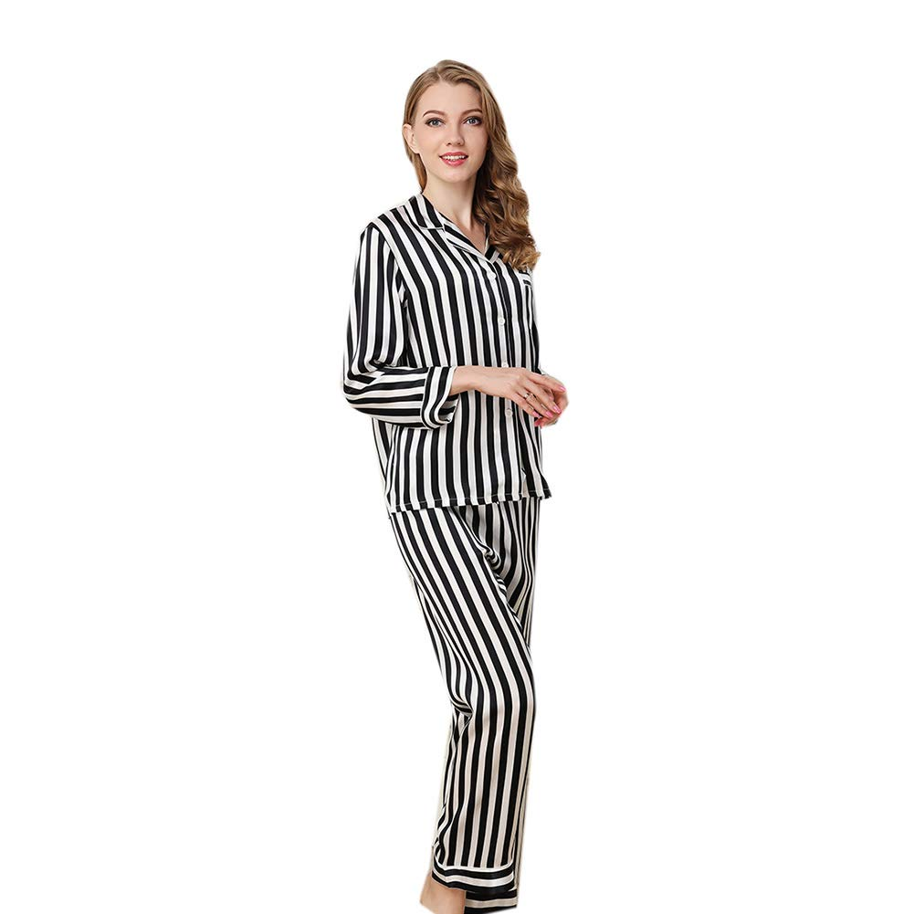 Silk Stripe Classic Sleepwear Set Pajama Ladies Nightgown Long VNeck TwoPiece Pajamas Home Suit Loungewear