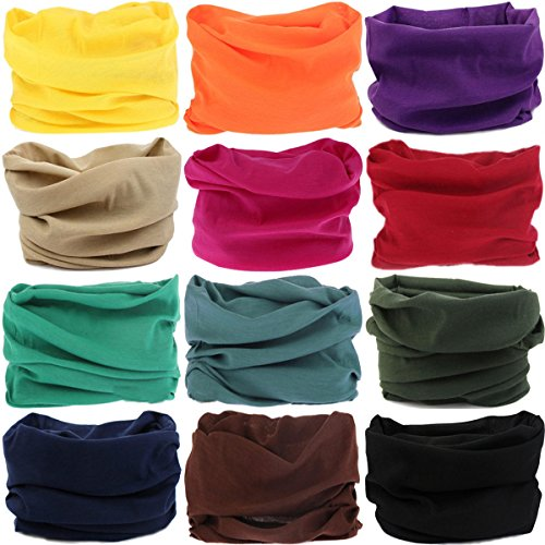 Headwear Head Wrap Sport Headband Sweatband 220 Patterns Magic Scarf 12PCS & 6PCS 12 in 1 By VANCROWN (12PCS.Solid Color)
