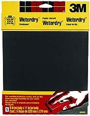 3M Lixa Wetordry, grão extra fino 320, 22,86 cm por 28 cm, 5 folhas (9086DC-NA)