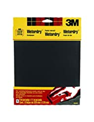 3M Wetordry Sandpaper, 9-Inch by 11-Inch, Assorted Grit, 5-Sh...
