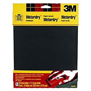 3M Wetordry Sandpaper, 9-Inch by 11-Inch, Super Fine 400 Grit, 5-Sheet