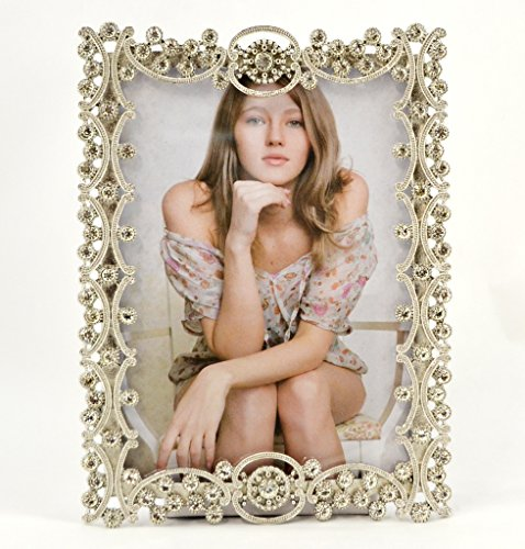 Ciel Collectables Tereza Picture Frame, Clear Swarovski Crystal, High Quality Silver Plating, Stylish Brown Color Silk Back Have Two Way Easel, Holds 5 x 5, 5 x 7 Inch Pictures