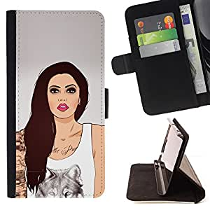 DEVIL CASE - FOR Samsung Galaxy Core Prime - Girl Wolf Art Ink Tattoo Woman Pink Lips - Style PU Leather Case Wallet Flip Stand Flap Closure Cover