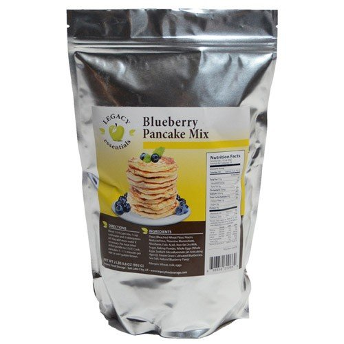 Legacy Essentials Long Term Blueberry Pancake Mix - 15 Year Shelf Life Breakfast Hot Cakes for Emergency Food Storage Supply (Quantity 1)