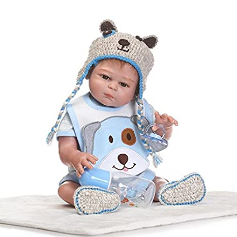 911f18130a5c2 Tutto Silicone Bambola Reborn Maschio Bambino Reale Gemelli Ragazzo Vestito  a Maglia Blu Chiaro 45 cm