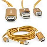 ePark MHL Micro USB to HDMI 1080P HDTV Adapter Cable for Samsung Galaxy S3 Galaxy S4 S5 i9600 Galaxy Note 2 Galaxy Note 3 USB Micro 5 Pin MHL-Enabled Phones 6.5 Feet (Gold)